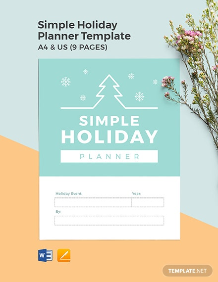 Free Simple Holiday Planner Template