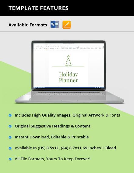 Basic Holiday Planner Instruction