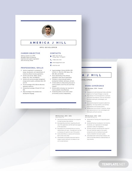 RPG Developer Resume Template [Free Pages] - Word, Apple Pages