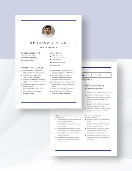RPG Developer Resume Download