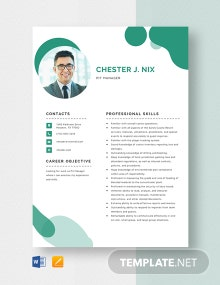 Pit Manager Resume Template