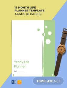 12 Month Life Planner Template