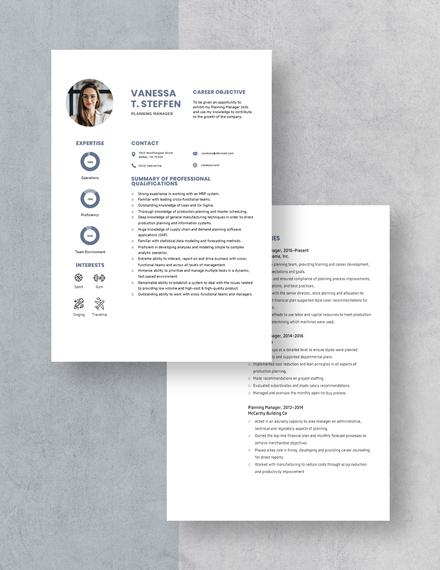 Planning Manager Resume Download