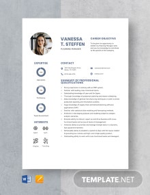 Planning Manager Resume Template