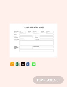 Free Transport Work Order Template