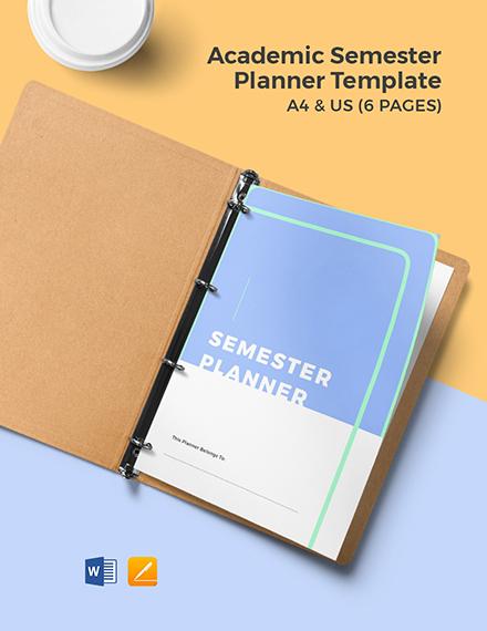 Academic Semester Planner Template