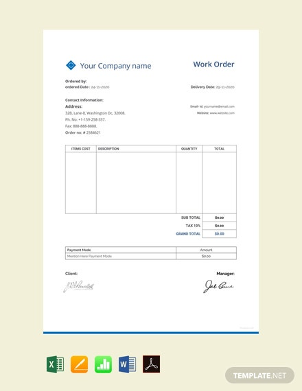 Free Sample Work Order Template