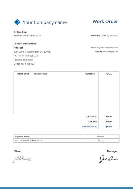 Free Sample Work Order Template