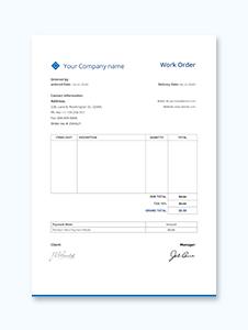 Sample Work Order Template