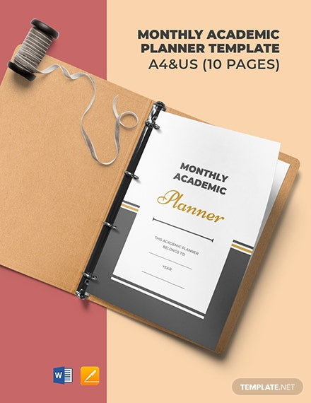 Monthly Academic Planner Template