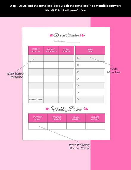 Basic Wedding Planner Printable