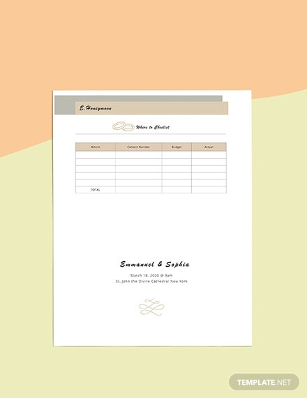 Simple Wedding Planner template printable