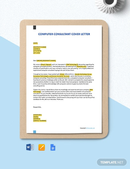 Free Computer Consultant Cover Letter Template