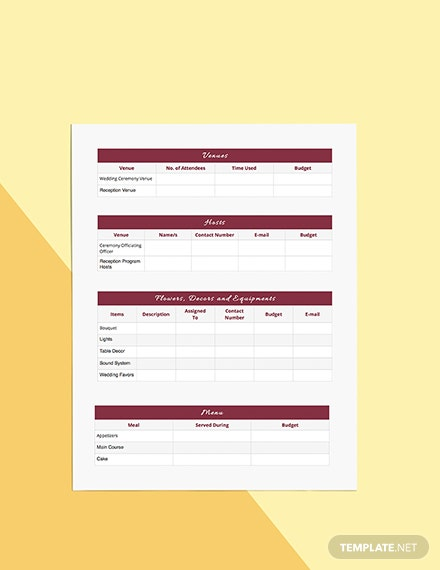 Blank Wedding Planner Template [Free Pages] - Word, Apple Pages