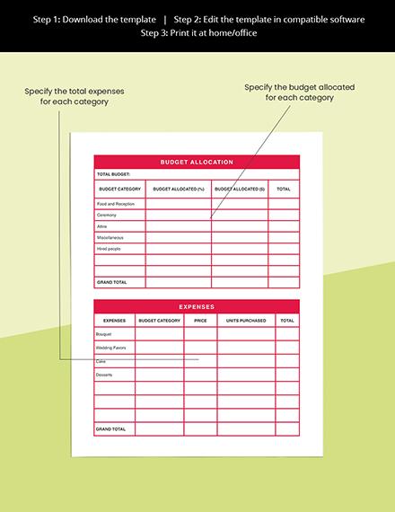 Christmas Wedding Planner Template Printable