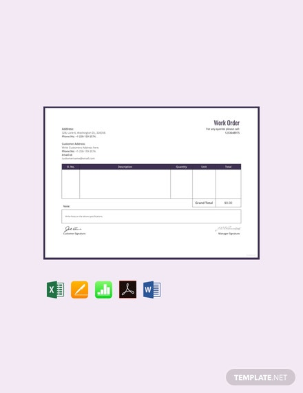 free work order format template 440x570 1