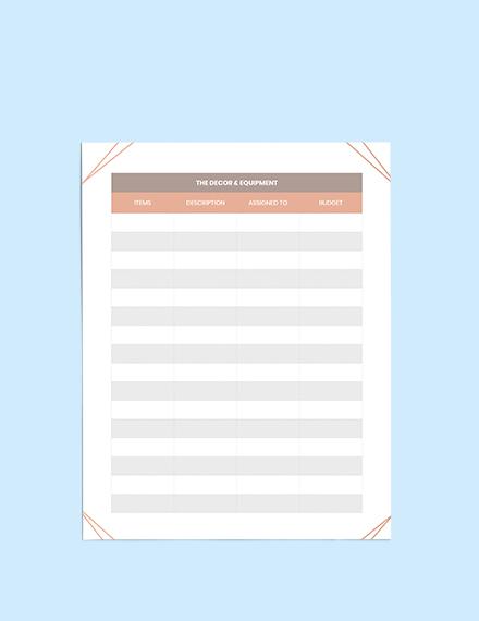 Bridal Shower Wedding Planner Editable