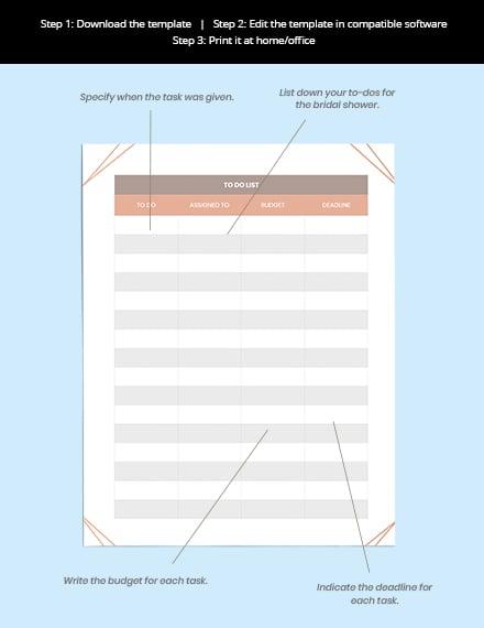 Bridal Shower Wedding Planner Format