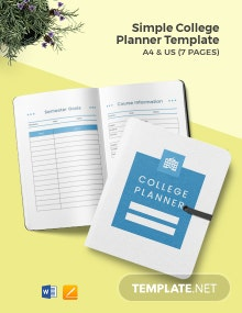 Free Simple College Planner Template