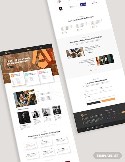 Advertising Agency Bootstrap Landing Page Format