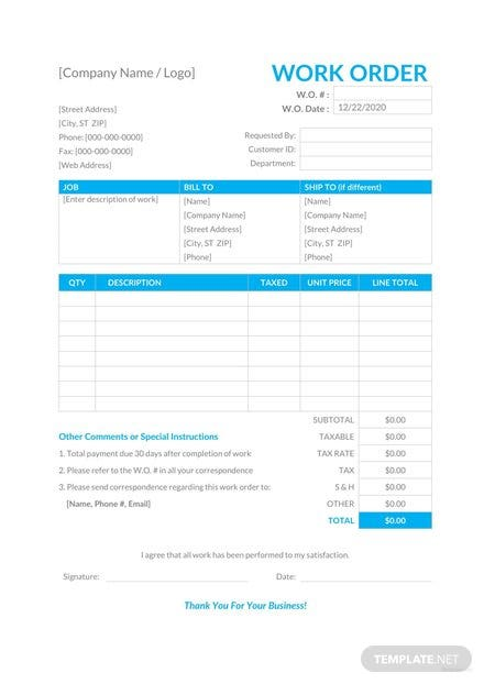 Work-Order-Template-1-440x622 Sales Order Confirmation Form Template on new revised delivery date, free sample, chemical purchase, excel sfmc, for shoes,