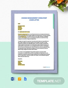 Free Change Management Consultant Cover Letter Template