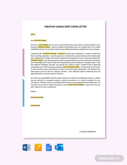 Free Creative Consultant Cover Letter Template