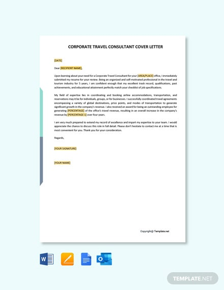 Free Corporate Travel Consultant Cover Letter Template