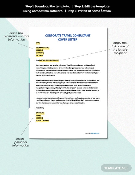FREE Corporate Travel Consultant Cover Letter - Word | Apple ...
