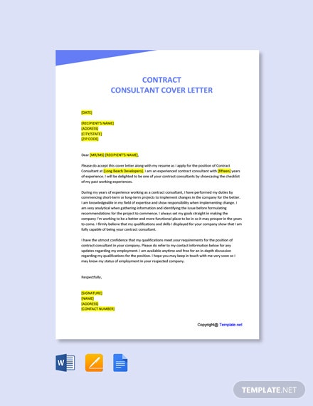 Free Contract Consultant Cover Letter Template