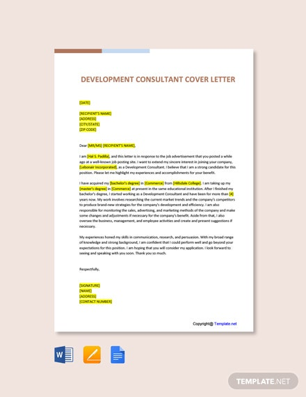 Free Development Consultant Cover Letter Template
