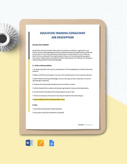 Free Education Training Consultant Job Description Template