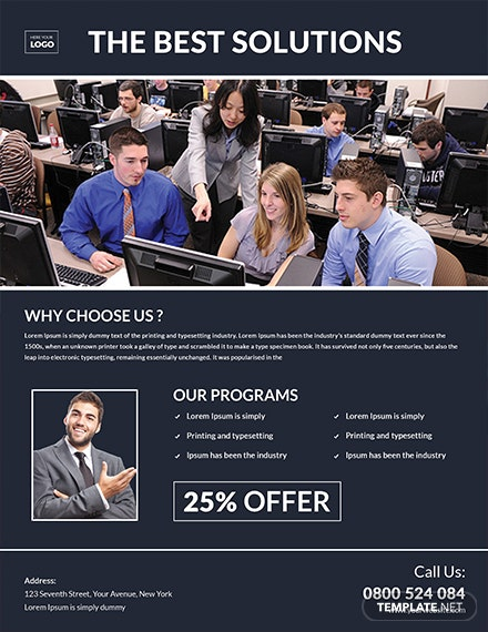 computer training flyer template 1x
