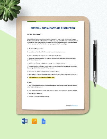 Free Dietitian Consultant Job Description Template