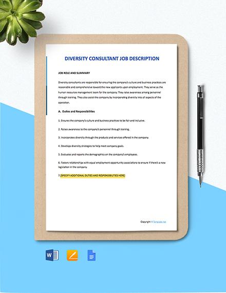 Free Diversity Consultant Job Ad and Description Template
