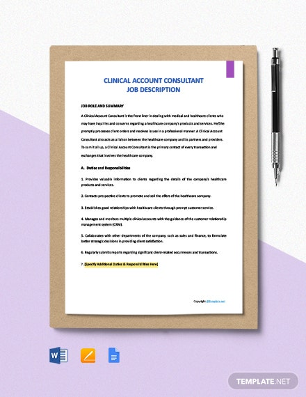 Free Clinical Account Consultant Job Ad and Description Template
