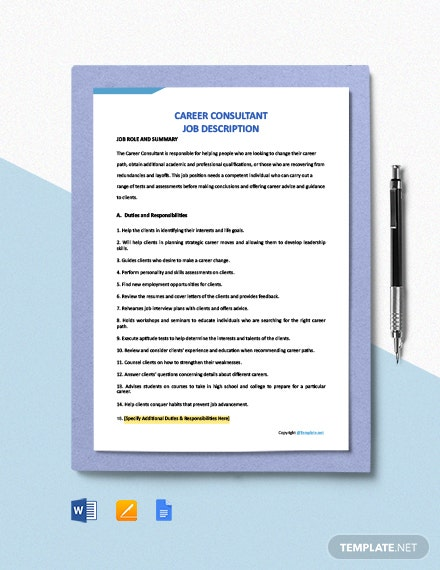 Free Career Consultant Job Description Template