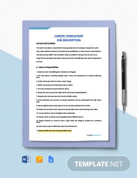 Free Career Consultant Job Description Template