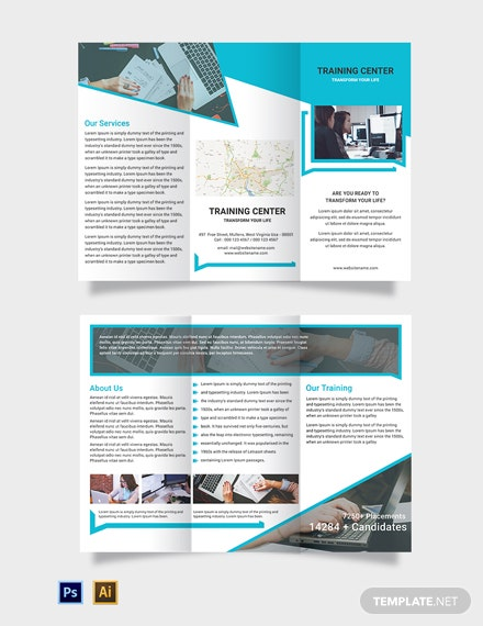 Free Training Center Tri-Fold Brochure Template