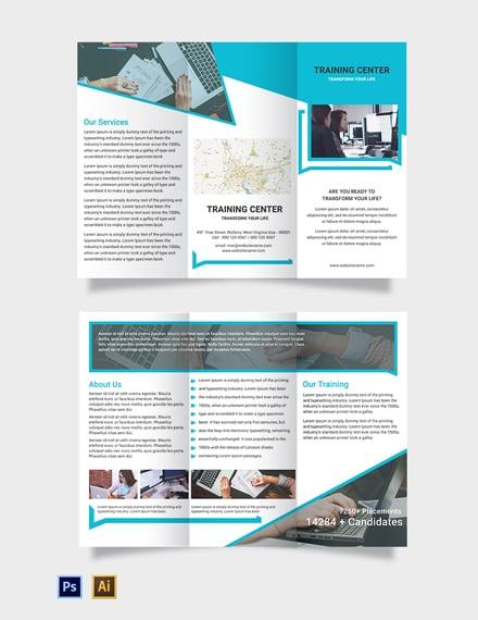 Free Training Center Tri-Fold Brochure Template