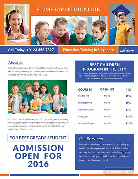free education tutoring flyer template 1x