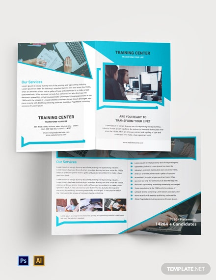 Free Training Center Bi-Fold Brochure Template