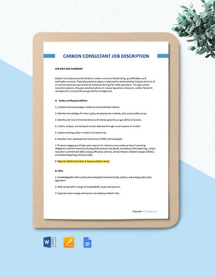 Free Carbon Consultant Job Description Template