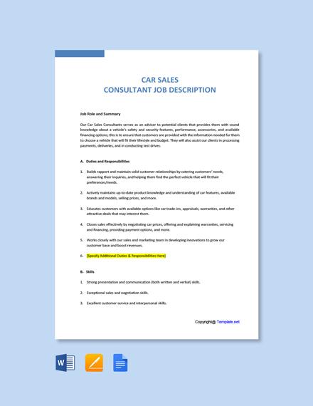Free Car Sales Consultant Job Ad and Description Template