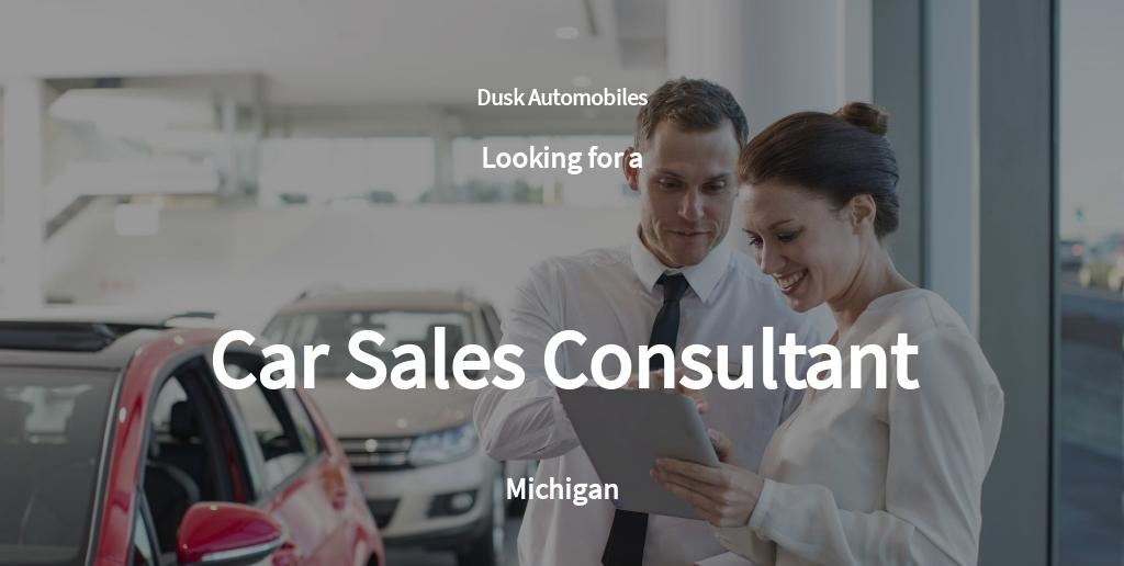 Car Sales Consultant Job Ad and Description Template