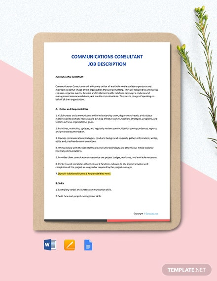 Free Communications Consultant Job Description Template
