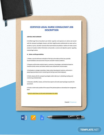 Free Certified Legal Nurse Consultant Job Description Template