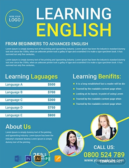 Free Language Tutoring Flyer Template