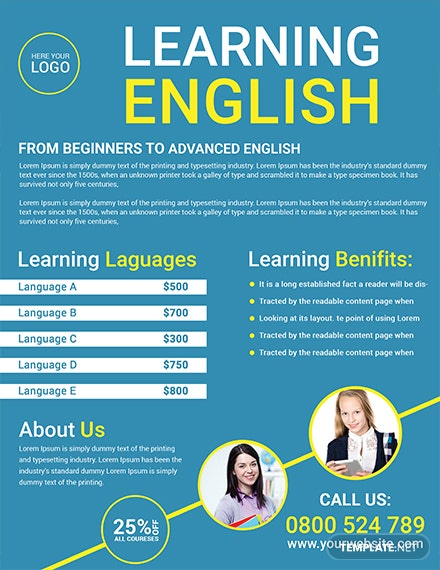 language tutoring flyer template 1x