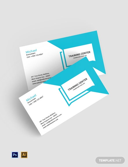 Free Training Center Business Card Template